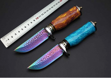 2 Color Damascus Hunting Knives Blue Turquoise Handle Survival Fixed Blade Knife Camping Multi Tools Leather Sheath Best Quality