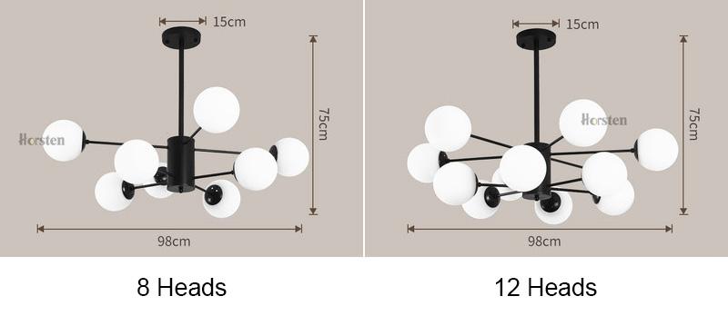 Horsten Nordic Creative Magic Bean Pendant Lights 6812 Heads Glass Ball Pendant Lamp For Living Dining Room Cafe Restaurant E27 (1)