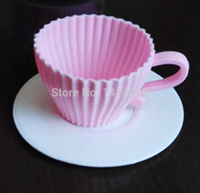 DIY Silicone Cupcake Cup Cake Baking Mould Muffin Tea Saucers Teacup Mold White Pink
