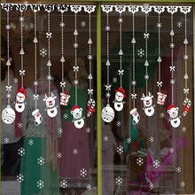 Christmas shop window decoration Christmas stickers stickers glass Christmas Snowman ornaments accessories window stickers(China)