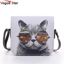 Vogue Star ! Bolsos Carteras Mujer Marca Women PU Leather Cat Wearing Glasses Print Messenger Handbag 2015 Women Bag YA40-207(China)