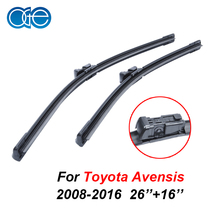 1Pair 26''+16'' Windscreen Wiper Blades For Toyota Avensis 2008-2016 High Quality Natural Rubber Windshield Car Accessories
