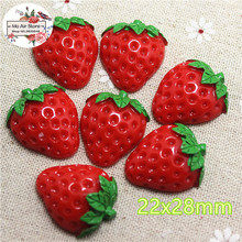 10pcs Strawberry fruit Resin Flat back Cabochon Miniature Food Art Supply Decoration Charm Craft DIY 22x28mm(China)