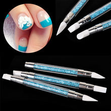 3pcs Rhinestone Acrylic Carving Nail Art Pen Brush Silicone Nail Art Sculpture Tools(China)