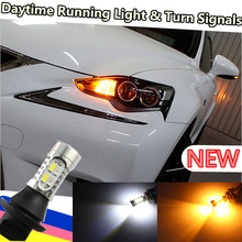Cheetah for toyota10w  Bau15s PY21W 7507 7440 t20 7443 T25 3157 3156 DRL Daytime Running Light & Turn Signal Light White+Amber