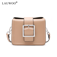 LAUWOO latest Women Messenger Bag Genuine Leather Crossbody Bag Fashion Button design Shoulder Bag Chains Women Bag(China)