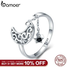 BAMOER Genuine 925 Sterling Silver Moon And Star Long Chain Star Adjustable Finger Ring for Women Sterling Silver Jewelry SCR479(China)