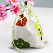 (10 pieces/lot) Cotton Drawstring Bag Cotton Pouch/Product Packaging/Jewelry Pouch Can Custom Logo Mini Squirrel Print 10x14cm