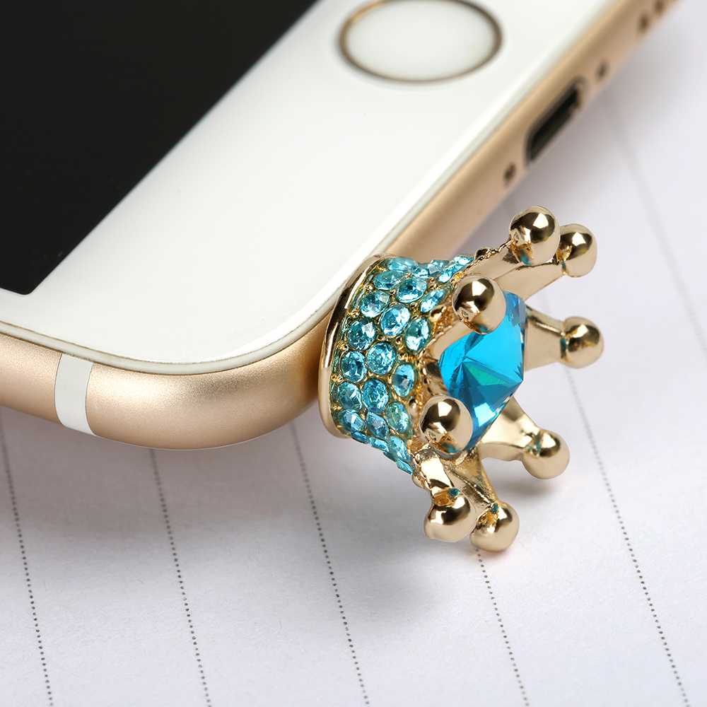 Mini 3.5mm Earphone Jack Crystal Rhinestones Cellphone Charms Audio Headphone Anti Crown Dust Plug Phone 3.5 AUX port Stopper(China (Mainland))