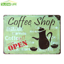 Coffee Shop Is Open Sign Vintage Home Decor Tin Sign Cafe Wall Decor Metal Sign Vintage Picture Art Poster Retro Painting Plaque
