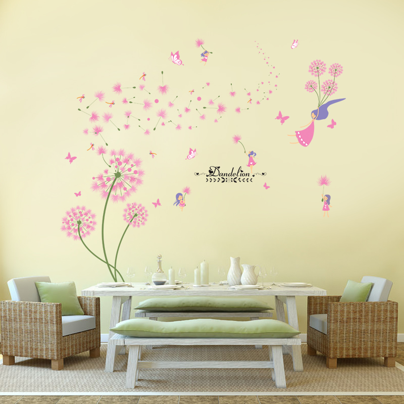 Aliexpress Com Shijuehezi Pink Dandelion Wall Stickers Flower Angel Decals Vinyl Diy Home Decor For Living Room Kids Decoration From