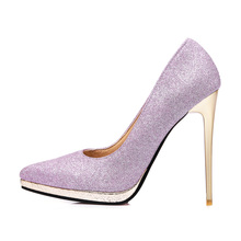 New Quality Sales Gold Purple Women Bridal Platform Pumps Sparkly High Stiletto Heels Lady Party Shoes EMP15 Plus Big Size 31 45(China)