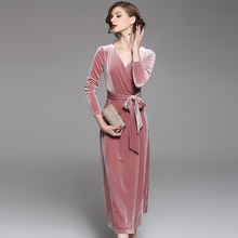 Ladies V-neck Velvet Maxi Dress Winter Dresses Women 2017 Vestido Longo  Elegant Pink Skater Long Dress Robe Longue add43a62d311