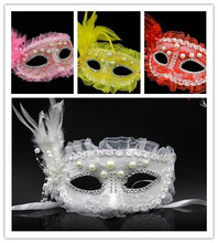 4 Colors-2PCS/lot Halloween Masquerade Performance Princess Lace Venice Mask Translucent Hollow Out Half Face Pearl Feather Mask