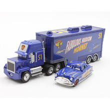 Disney Pixar Cars No.51 Mack Truck + Small Car Fabulous Hudson Hornet Diecast Metal Alloy And Plastic Modle Toy Car For Children