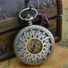 Coupon for wholesale buyer price good quality new antique classical retro bronze sun flower mechanical pocket chain watch hour(China)