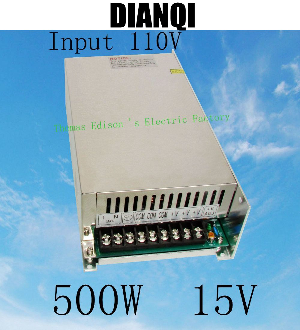 power suply 15v 500w input 110v or 220V ac to dc power supply ac dc converter  high quality led driver S-500-15<br>