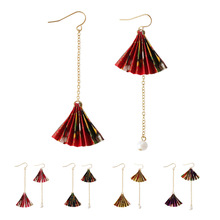 Japanese Style New Accessories Fashion Temperament Earrings Imitated Pearl Paper Fan Long Tassel Brincos For Women Pendientes