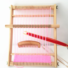 Traditional Weaving Loom Wooden Kids Adult Toy Craft Educational Tool Wood Weaving Frame Pixel Knitting Machine Christmas Gift(China)