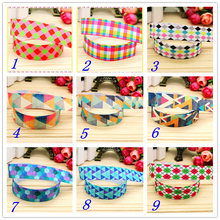 7/8'' Free shipping plaid printed grosgrain ribbon hairbow headwear party decoration diy wholesale OEM 22mm D377