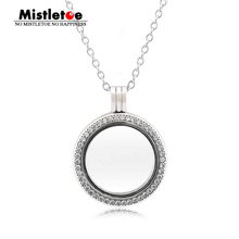 Mistletoe 925 Sterling Silver Sparkling Brand Locket, Medium, Crystal Glass & Clear CZ Fit European Jewelry only Locket(China)