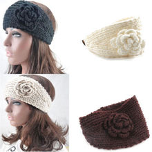 New Fashion 4 Colors Women Crochet Headband Knit Hairband Flower Winter Ear Warmer Headwrap
