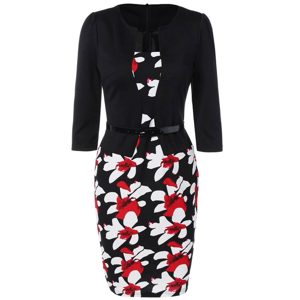VESTLINDA Pencil Office Dress 5 Colors Plus Size Jacket Look Floral Print Women Vestidos Mujer Jurken Robe Slim Bodycon Dresses 14