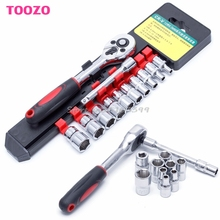 "Drop shipping 1/4"" Ratchet Wrench Kit Chrome Steel Socket Wrench+Extension Rod +10 Sockets New -Y121 Best Quality"