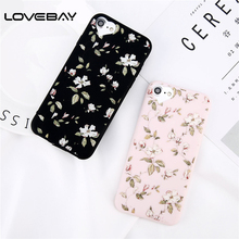 Lovebay Phone Case For iPhone X 8 7 6 6s Plus 5 5s Fashion Green Leaves Floral Flower Cases Love Heart Soft TPU Back Cover Case(China)