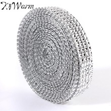 1 Pcs Silver Diamond Mesh Wrap Roll Sparkle Rhinestone Crystal Ribbons For Wedding Birthday Party Decoration Supplies 10 Yards