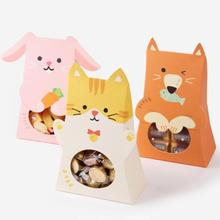 1PC Birthday Party new cartoon rabbit, bear, penguin, cat, animal candy boxe, biscuit boxChildren Party Gift F