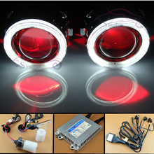 Car/Motorcycle Styling HID Bi xenon Headlight Projector Lens With Angel Eyes Halo LED Devil Demon Eye Kit H1 H4 H7 HB3 HB4 9005(China)