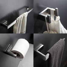 304 Stainless Steel Bathroom Accessories Set Single Towel Bar, Robe Hook, Paper Holder Bath Hardware Sets