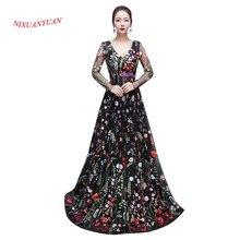 2017 New Elegant Long Evening Dress 2016 High Quality V-Neck Long Sleeve  Formal Gowns Mother Dress 2016 vestidos de noite 2016 d9f9251623bb