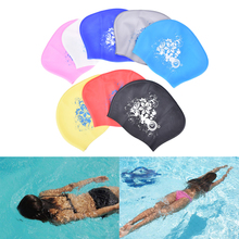 8 Colors Women Silicone Swimming Cap Waterproof Elastic waterproof ear protection Swim cap Hat Cover for long hair adults(China)