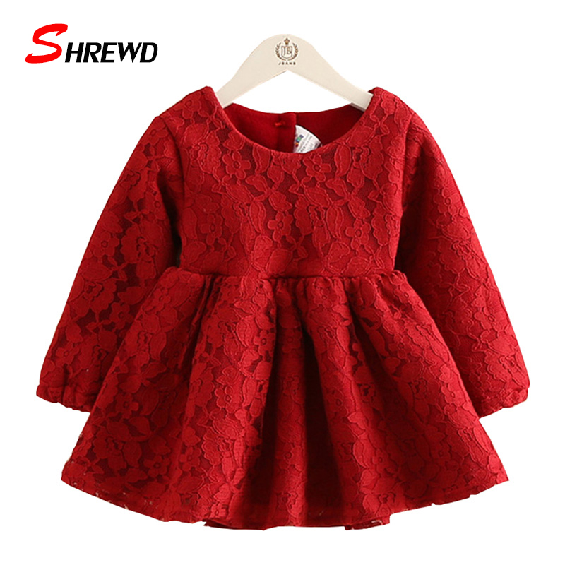 Girls Kids Dress 2017 New Winter Fashion Lace Plus Vlevet Toddler Girl Dresses Long Sleeve Thick Kids Clothes Girls 4448Z<br><br>Aliexpress