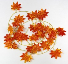 Decorative Flowers Artificial Fall Maple Leaf Garland Silk Vine Wedding Garden Decor Decoration -30