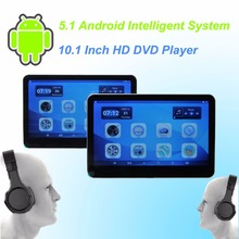 Car  Headrest DVD Player Android 5.1 HD 10.1 Inch Monitor HD Quad Core (4 Core) CPU WIFI  With Wireless Headset
