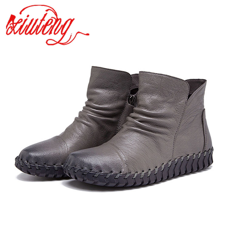 Xiuteng Real Leather Women Genuine Leather Boots 2017  Fashion Soft Bottom Shoes Double Zipper Tassel Winter Boots Plus Velet<br>