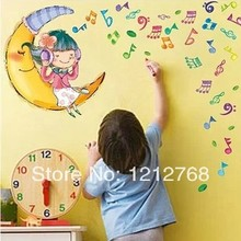 Note the moon cartoon wall stickers child girl room decoration real sticker music