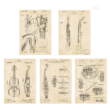 Vintage patent art instrument G2  Cello Violin bagpipe saxphone french horn patent art prints/poster retro art  5 in 1