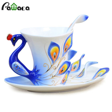 Peacock Coffee Cup Enamel Porcelain Tea Milk Cup Ceramic Coffee Mug Spoon Saucer Set 3D Bone China Drinkware For Friend Gift(China)
