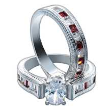 fashion hot sale lady men jewelry fine pave red white zircon rings set luxury engagement offic accessories trendy wholesale