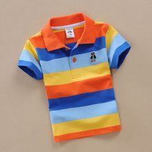 childrens cotton clothes designer kids wear blue and orange striped dress shirt for boys 2-15y kids boys shirts