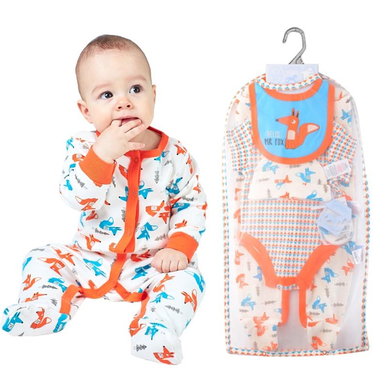 Luvena Fortuna Baby Clothing Set 5-PCS Cotton Bodysuit Romper Bib Mitten Cap Multi Set w/ Mesh Bag Newborn Baby Boy Girl Clothes<br>