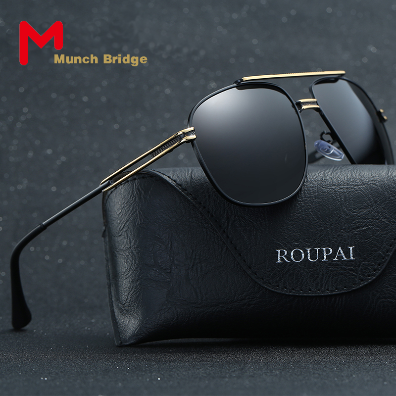 Munch Bridge 2017 New Brand Designer Big Size Mens Polarized Sunglasses Driving Hiking Sun Glasses Vintage Oculos De Sol Shades<br><br>Aliexpress