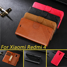 Hight Quality PU Leather Case For Xiaomi Redmi 4 pro /  Redmi 4 Flip Cover Card Holder Phone Bag Case