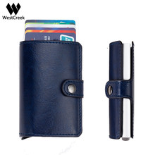 Westcreek Brand Aluminium Alloy Anti Theft Mini Men Wallets RFID Business Card Holder Case Automatic Pop Up Card Protector