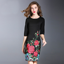 2018 New Spring Elegant Embroidery Women Dress High Quality European Half Sleeve O_neck Above Knee Mini Slim Brief Dress(China)