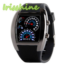 Irissshine #0092 couple Fashion Aviation Turbo Dial Flash LED Watch Gift Mens Lady Sports Car Meter  High quality New Arrival